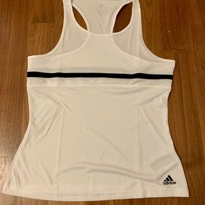 White tank with black stripes by adidas.